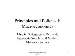 Principles and Policies I: Macroeconomics
