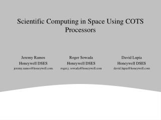 Scientific Computing in Space Using COTS Processors