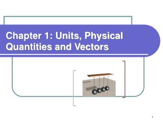 Chapter 1: Units, Physical Quantities and Vectors