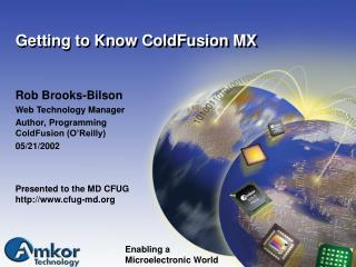 Getting to Know ColdFusion MX