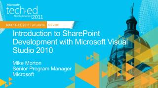Introduction to SharePoint Development with Microsoft Visual Studio 2010