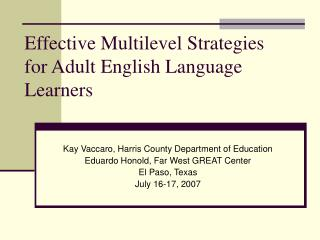 Effective Multilevel Strategies for Adult English Language Learners
