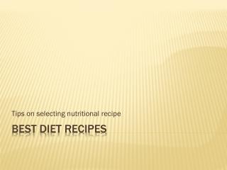Best Diet Recipes List