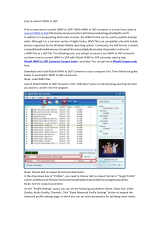 Easy to convert WMV to 3GP
