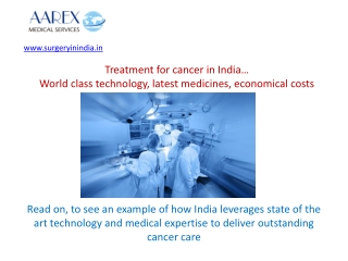 Cancer Treatment in India - Advantages