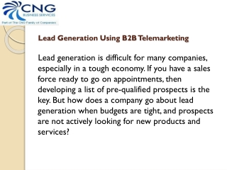 Lead Generation Using B2B Telemarketing