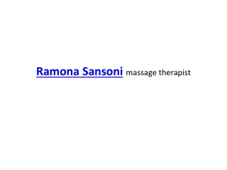 Ramona Sansoni massage therapist