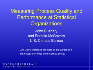 Measuring Process Quality and Performance at Statistical Organizations