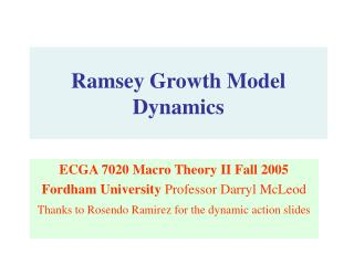 Ramsey Growth Model Dynamics