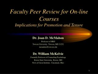 Faculty Peer Review for On-line Courses   Implications for Promotion and Tenure