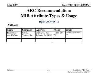 ARC Recommendation: MIB Attribute Types & Usage