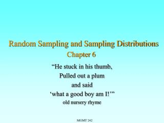 Random Sampling and Sampling Distributions Chapter 6