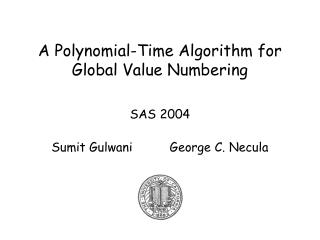 A Polynomial-Time Algorithm for Global Value Numbering