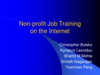 Non-profit Job Training  on the Internet