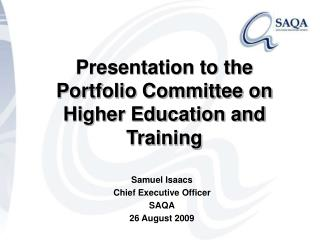 Presentation to the Portfolio Committee on Higher Education and Training