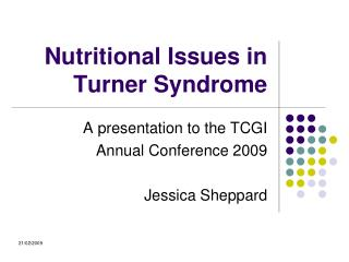 Nutritional Issues in Turner Syndrome