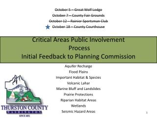 Critical Areas Public Involvement  Process Initial Feedback to Planning Commission