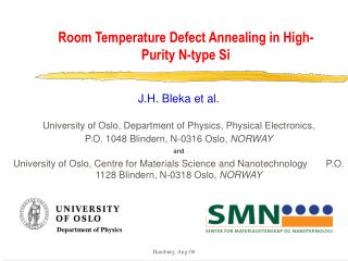 Room Temperature Defect Annealing in High-Purity N-type Si