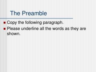 The Preamble