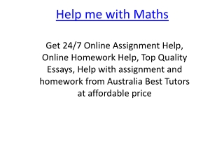 Help me with Maths