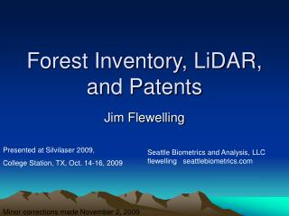 Forest Inventory, LiDAR, and Patents