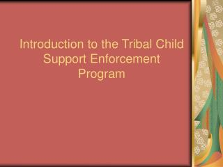 Introduction to the Tribal Child Support Enforcement Program