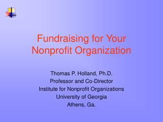 Fundraising for Your Nonprofit Organization
