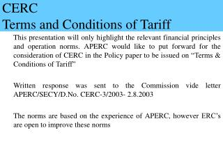 CERC  Terms and Conditions of Tariff