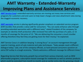 AMT Warranty - Extended-Warranty Improving Plans and Assista