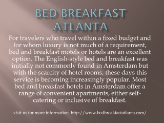 Bed breakfast atlanta