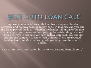 best auto loan calc