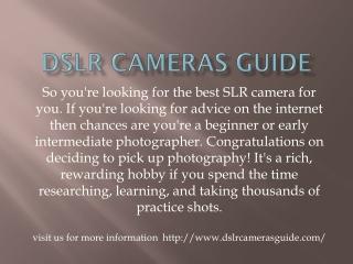 Dslr cameras guide