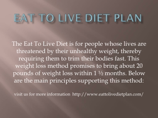 Eat To Live Diet Plan