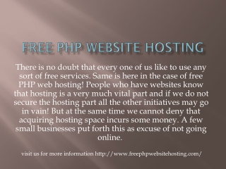 free php website hosting