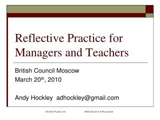 Reflective Practice for Managers and Teachers