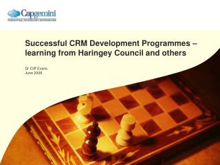 Successful CRM Development Programmes – learning from Haringey Council and others