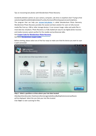 Tips on recovering lost photos with Wondershare Photo Recove