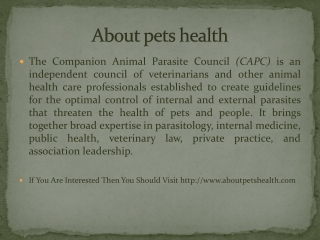About pets health