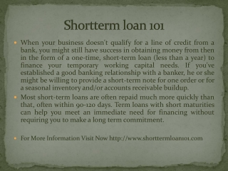Shortterm loan 101