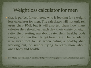 Weightloss calculator for men