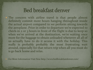 Bed breakfast denver
