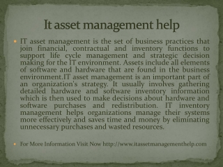 It asset management help