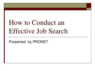 How to Conduct an Effective Job Search
