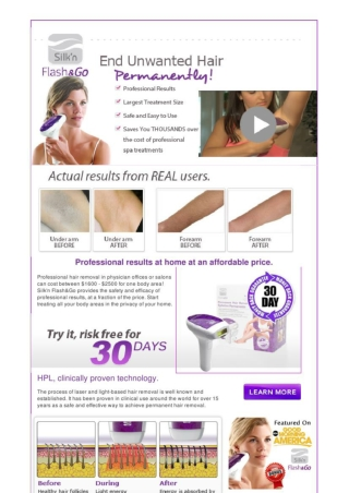 Silk N Flash and Go Hair Removal Device