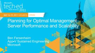 Planning for Optimal Management Server Performance and Scalability