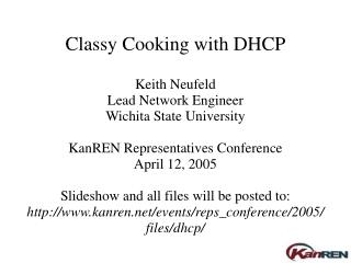 Classy Cooking with DHCP