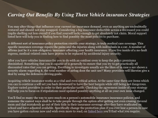 Carving Out Benefits By Using These Vehicle insurance Strate