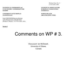 Comments on WP # 3.