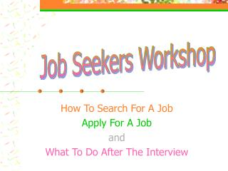 How To Search For A Job Apply For A Job and What To Do After The Interview