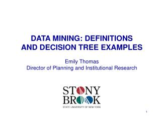 DATA MINING: DEFINITIONS  AND DECISION TREE EXAMPLES